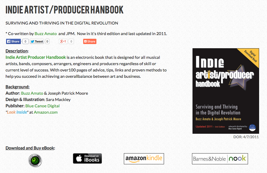 Indie Artist Producer Handbook by Curtis Mayfield alumni Buzz Amato and bass player joseph Patrick Moore