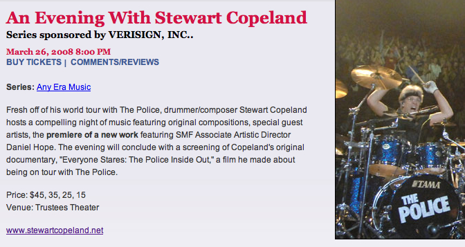 an evening with Stewart Copeland